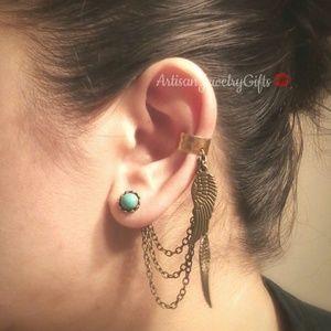 Hypo-Allergenic Angel Wings Ear Cuff Earrings Set